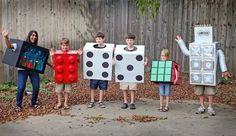 Halloween costumes from leftover moving boxes.