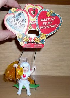 ROSEN ROSBRO CANDY CONTAINER VALENTINE CARD WITH ATTACHED GIRL ON SWING