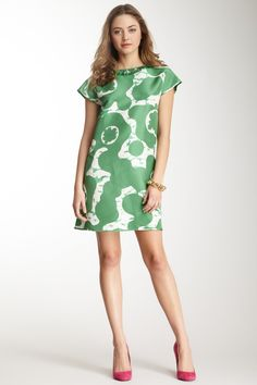 Print Ruffle Neck Silk Dress