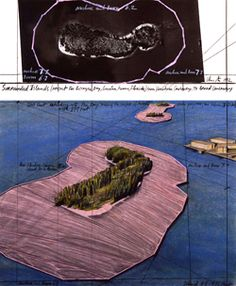 Christo Surrounded Islands (Project for Biscayne Bay, Greater Miami, Fla) Drawing 1983 in two parts Pencil, pastel, charcoal, wax crayon, enamel paint and aerial photographs