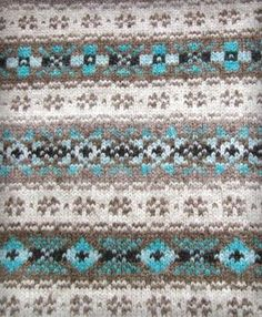 Shetland Knit Pattern in brown & sky blue Fair Isle Knitting Patterns, Fair Isle Pattern, Knitting Charts, Knitting Stitches, Hand Knitting, Punto Fair Isle, Knit Stranded, Fair Isle Chart, Fair Isles