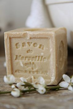 Savon de Marseille (the most excellent olive oil soap!) Don't be fooled by imitations. This is true Savon de Marseille, hand-crafted in Marseille, France French Soap, Savon Soap, Olive Oil Soap, Purple Home, Modern Country, French Country, French Farmhouse, Perfume, Soap Making