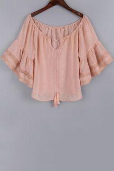 de Bell manga del accesorio de las mujeres dulces del cordón de la blusa rosada