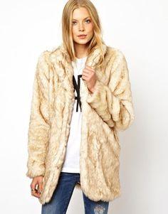 Image 1 ofASOS Longline Fur Coat