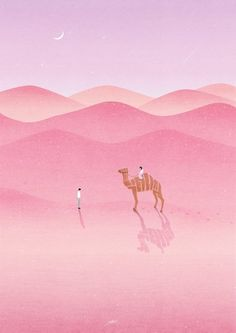 inspiration for masked and sponged landscape lines . desert scene in pinks . stamped camel with shadow . Buch Design, Poster S, Art Moderne, Art Graphique, Illustrations And Posters, Art Inspo, Art Drawings, Concept Art, Illustration Art