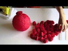 Как сделать шар из бумажных цветов