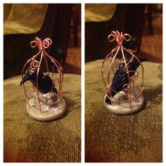 Polymer clay and copper wire miniature Raven in a cage