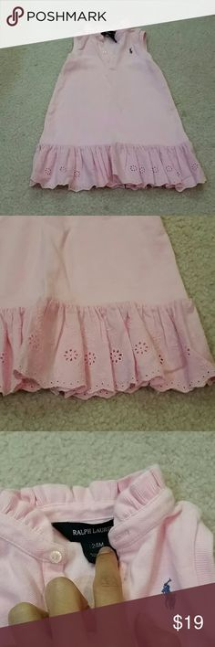 Ralph Lauren pink sleeveless dress size 24 months Beautiful baby pink Ralph Lauren sleeveless ruffle pink dress with eyelet trim detail. Size 24 months but will fit up to 2 year old as RL runs big. Wore maybe twice so I perfect condition. No PayPal or trades. Ralph Lauren Dresses