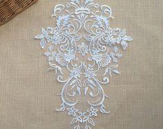 Large Off white Lace Applique for DIY Wedding, Bridal Dress Decor, Costume Design