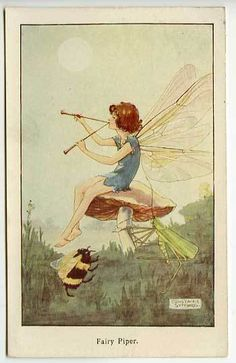 Fairy piper with dancing bee; by Constance Symonds | eBay