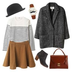 """""""Parisienne"""" by hanaglatison ❤ liked on Polyvore featuring Mark Cross, Uniqlo, ASOS, Isabel Marant, Jigsaw, bowler, shirt, hat, skirt and satchel"""