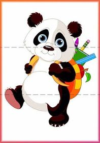 Cute panda go to school. Cute panda on his way to school , Niedlicher Panda, Panda Bebe, Panda Art, Cute Panda, Panda Images, Bear Images, Animals Images, Bear Clipart, Bear Vector