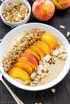 As peaches come into season why not enjoy this Peach Pie Smoothie Bowl. It's thick, creamy, full of protein, and tastes just like a piece of peach pie!