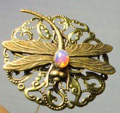 Art Nouveau dragonfly hat pin