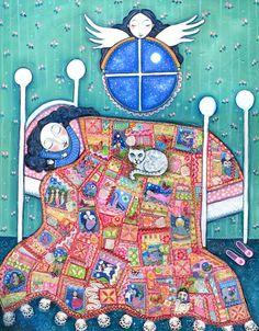 Girls room art angel patchwork quilt cat A3 print sleeping girl nursery wall decor whimsical folk art childrens picture - Heirloom. $28.00, via Etsy.