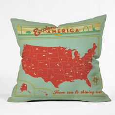 Anderson Design Group Explore America Throw Pillow | DENY Designs Home Accessories