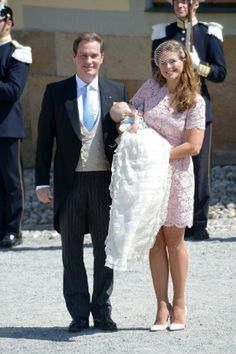 Princess Madeleine of Sweden and Christopher O'Neill carries her daughter Princess Leonore after her Royal Christening at Drottningholm Palace Chapel, 08.06.2014 in Stockholm, Sweden.