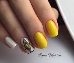 ideas nails design summer acrylic bright colors shops for 2019 Yellow Nails Design, Yellow Nail Art, White Nail, Two Color Nails, Nail Colors, Nail Swag, Cute Nails, My Nails, Nail Deco
