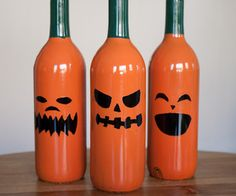 Halloween + drinking = wine bottle jack-o-lanterns!  Turn regular cheap wine bottles into some funky Halloween decorations. Halloween decorations that...