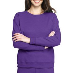 Hanes Women's Fleece Crew In Purple or Magenta with cross spray painted on front.  Hip-Hop Ballet Girls