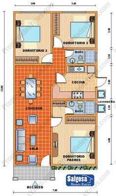 Resultado de imagen para planos de casas rectangular de un piso Home Design Plans, Plan Design, Small House Plans, House Floor Plans, Building Plans, Building A House, Bungalow, 2 Bedroom House Plans, Casas Containers