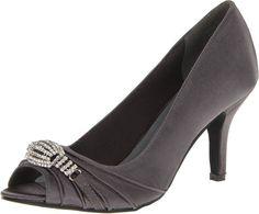 amazon   Annie Shoes Women's Larissa Dress Pump,Pewter Satin,10 W US