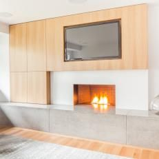 concrete floating fireplace hearths and cabinetry - Google Search