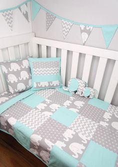 Patchwork cot quilt in Mint and Grey Elephants
