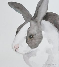 Bunny Rabbit Watercolor Painting, Bunny Art, Rabbit Art, Black and White, Spring Easter Bunny, Original Art