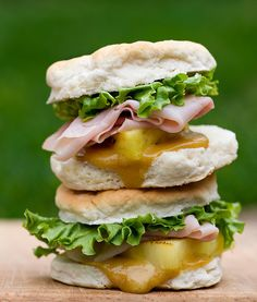 Ham and Pineapple Biscuit Sliders with Spicy Honey Mustard
