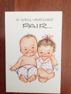 Vintage 1940's Charlot Byj Birthday Card with Twin Two Babies