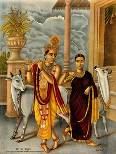 Krishna playing the flute to a dancing Radha, two holy cows stand behind. Tanjore Painting, Krishna Painting, Shiva Art, Hindu Art, Shiva Shakti, Om Namah Shivaya, Lord Vishnu Wallpapers, Lord Krishna Images, Krishna Pictures