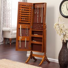 Heritage Jewelry Armoire Cheval Mirror - Oak - Jewelry Armoires at Hayneedle Wall Mounted Jewelry Armoire, Jewelry Mirror, Wooden Standing Mirror, Bedroom Vanity Set, Freestanding Mirrors, Cheval Mirror, Home Bedroom, Home Furniture, Antique Furniture