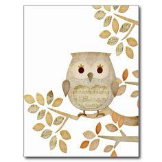 Musical Tree Owl Postcard