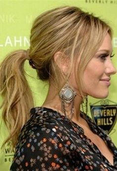 Hilary Duff Textured Ponytail Hairstyle