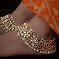 Fashion Anklets Bracelets - Add flare to your style, express your creativity Ankle Jewelry, Ankle Bracelets, Bangles, Indian Wedding Jewelry, Indian Jewelry, Pakistani Jewelry, Indian Bridal, Anklet Designs, Buy Jewellery Online