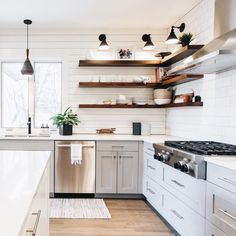 Wow! What a wickedly beautiful kitchen! Goals! Are you inspired to install floating shelves? We'd love to help! Shop our shelving options on our Shelfology website to begin!