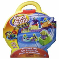 Moon Sand Amusement Park Carrying Case by Spin Master. $24.99. Park Rides^Includes 3 x 10 oz. poly bag of Sand (Yellow, Green, Purple), 2 Character Molds, 1 Roller Car Base and 1 Bumper Car/Roller Coaster Car^Also includes 1 Large Tent Mold, 1 Spinning Jet Ride, 1 Lift and Launch Track and 2 Pointed Window Cards/Signs^^. From the Manufacturer                The Moon Sand Amusement Park Carrying Case allows you to create characters, tents, rides with motion, that can...