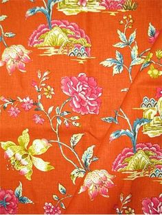 """Pondicherry Tumeric.  Williamsburg Colonial Fabric Collection. 100% linen. Multipurpose, linen, floral print fabric. V 27"""" H 13.5"""" up the roll repeat. 54"""" wide."""