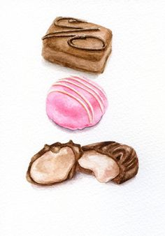 Chocolate Pralines/ Watercolour Painting by ForestSpiritArt