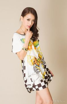 Delicate Round-Neck Short Sleeve Butterfly Print Short Day Dress, Print
