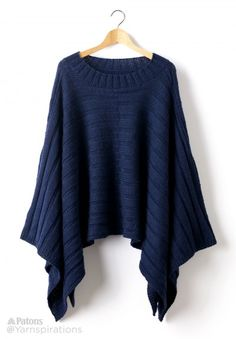 Reversible Ribbed Knit Poncho - Patterns | Yarnspirations