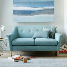 Finn Loveseat. West Elm. Oh, this aqua loveseat.
