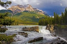 Earth Waterfall  Athabasca Falls Jasper Canadian Rockies Wallpaper