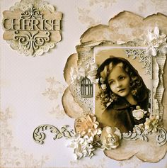 Cherish ~ lovely monochromatic heritage page. Heritage Scrapbook Pages, Vintage Scrapbook, Wedding Scrapbook, Vintage Postcards, Scrapbook Cards, Mixed Media Scrapbooking, Scrapbooking Layouts, Digital Scrapbooking, Altered Canvas