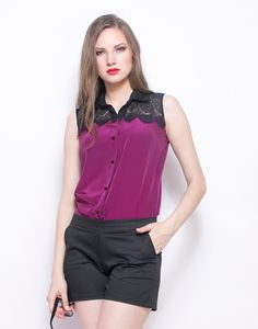 Faballey Lace Bite Shirt - Purple  Need another office staple? Invest in this stunning deep purple crepe shirt that features a black scalloped lace yoke. Regular fit.  Work It - Nail that important meeting wearing this baby tucked in your classic pencil skirt with pointy toe pumps