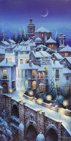 H : photo christmas scenes, christmas art, winter christmas, snow scenes Winter Szenen, Winter Magic, Winter Holidays, Christmas Scenes, Christmas Art, Winter Christmas, Christmas Illustration, Illustration Art, Pintura Exterior