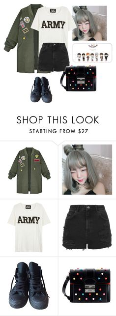 """BTS Concert with the Members!!"" by fangirlkaly8102 ❤ liked on Polyvore featuring WithChic, NLST, Topshop, Converse and RED Valentino"