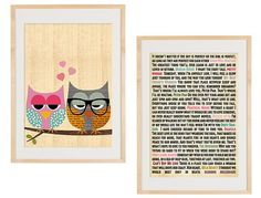 Adorable print; owls with romantic movie quotes on back! $14.00