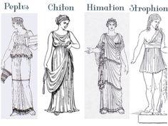 Peplum o Peplo, Chitón e Himatión. El peplo lo llevaban las mujeres de la Alta Sociedad y era de tela de Lana o Lino. Podía llegar a tener 3 metros de largo por 2 de ancho.. Era una tela superpuesta que creaba Volantes.